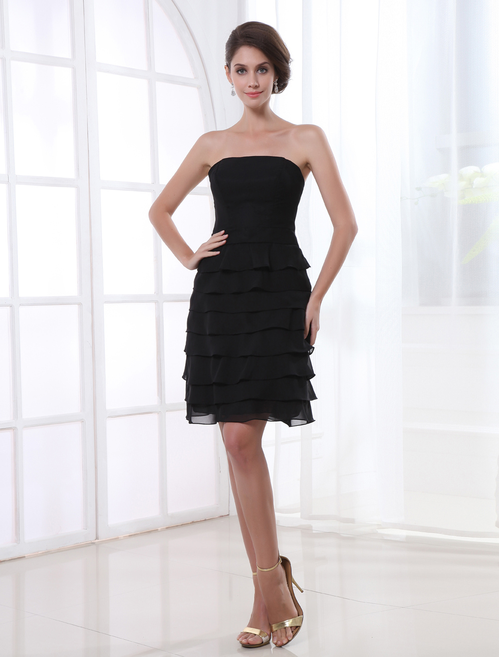 Strapless Tiered Chiffon Black Knee-Length Sheath Cocktail Dress