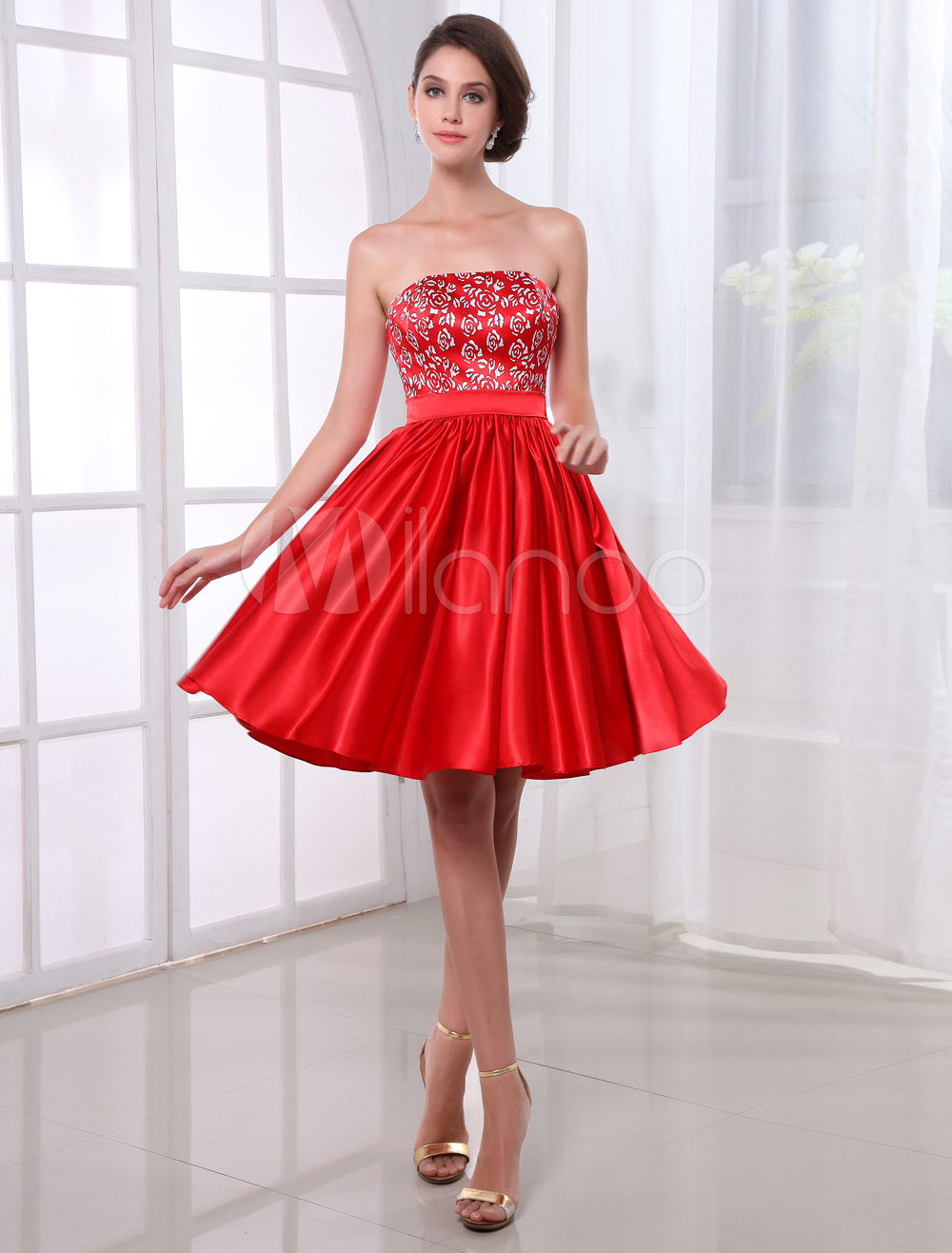 Sweet Red Printed Strapless Knee-Length Trendy Homecoming Dress