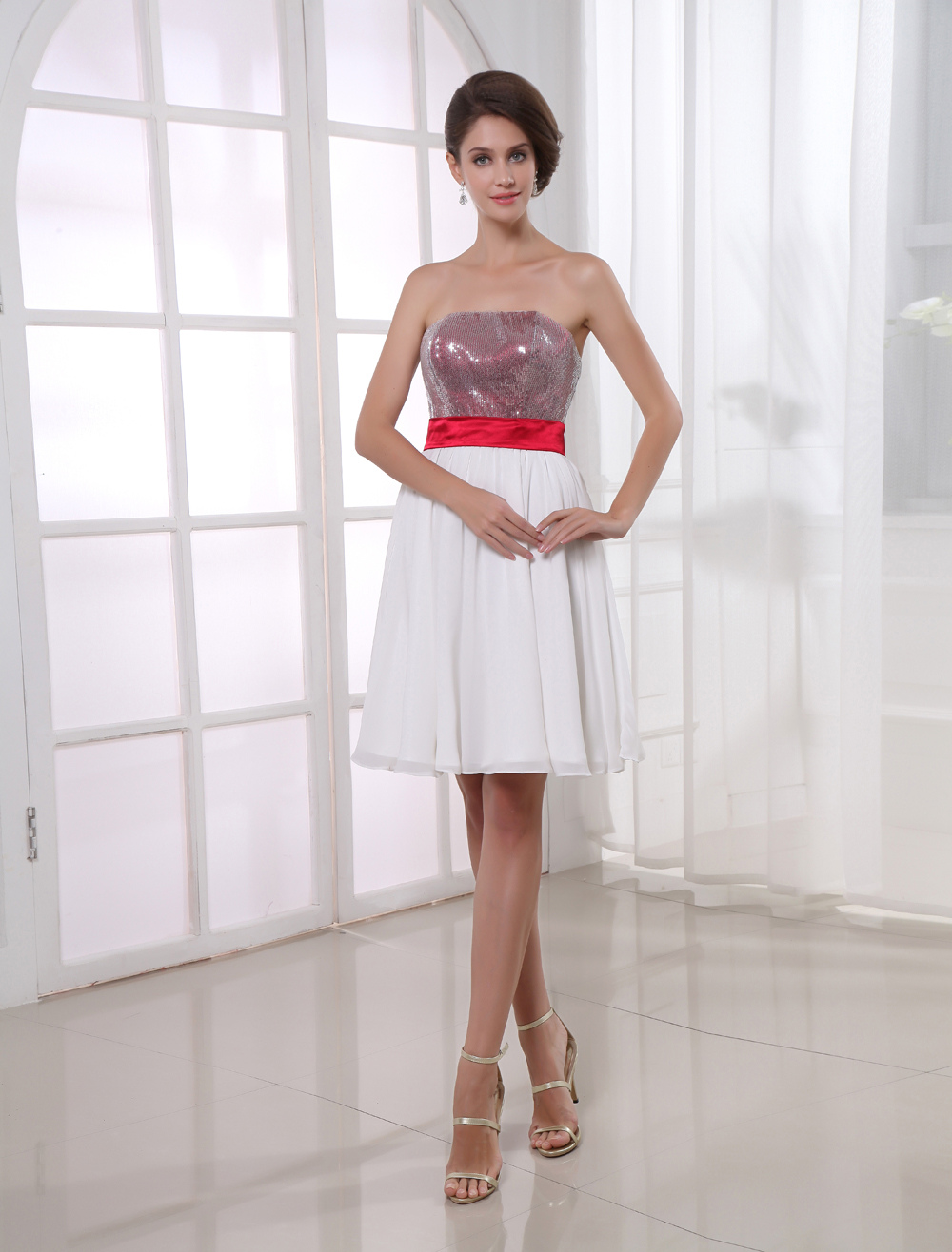 Buy White A-line Pretty Knee-Length Cocktail Dress with Strapless Sequin Chiffon for $110.19 in Milanoo store