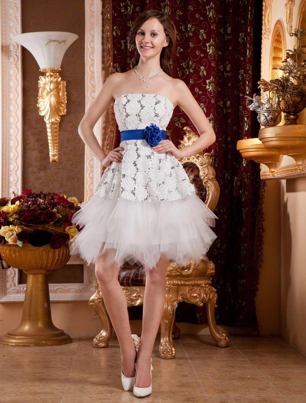 Buy White Strapless Knee Length Sequin Flower Woman's Homecoming Dress for $92.69 in Milanoo store