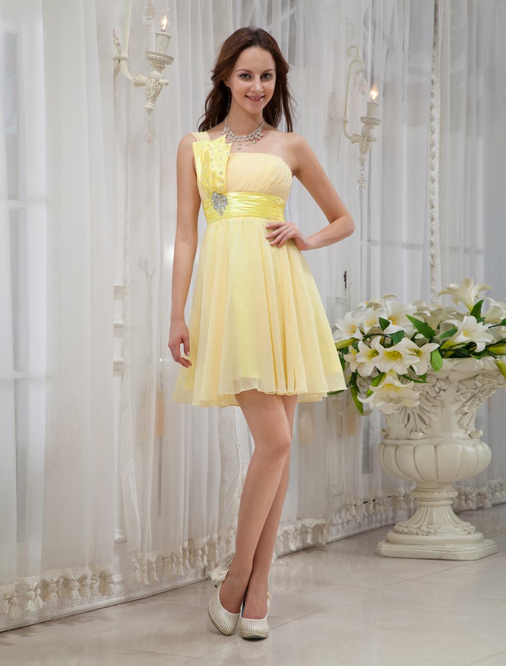 prezzo accessibile nuove foto come acquistare Abito da cerimonia moderno giallo in chiffon con cerniera con ...
