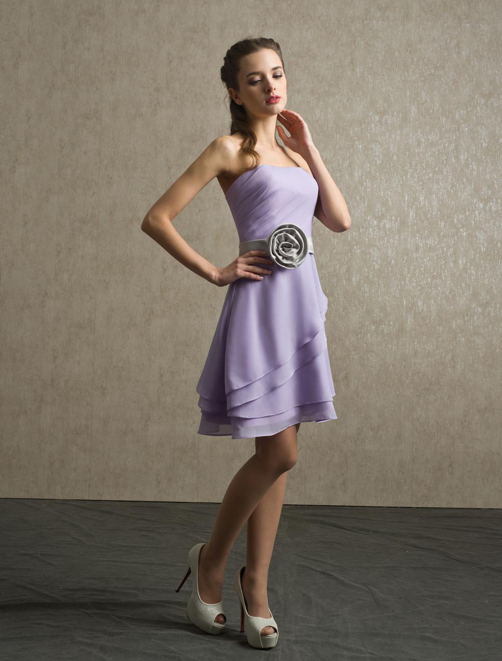 A-line Sash Chiffon Knee-Length Lavender Bridesmaid Dress with Strapless Neck
