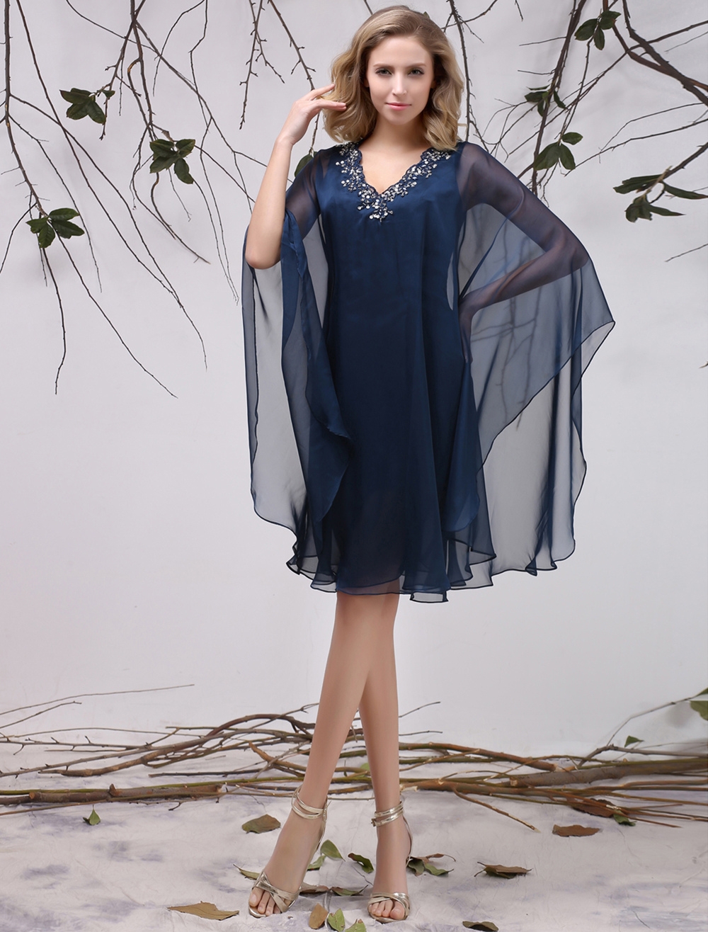 Dark Navy A-Line Chiffon Mother of the Bride Dress Wedding Guest Dress Milanoo
