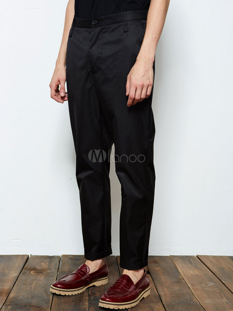 Handsome Black Solid Color Polyester Cropped Pants For Men Milanoo Com