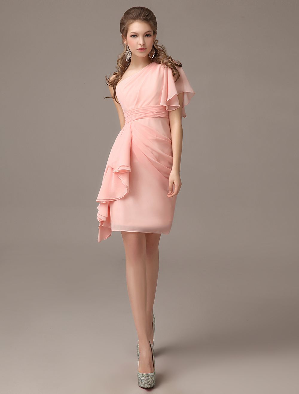 Sheath Pink One-Shoulder Knee-Length Chiffon Bridesmaid Dress with Grace Side Draping