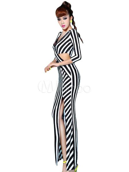 154a74628 Vestido largo de algodón mezclado a rayas con escote en V - Milanoo.com