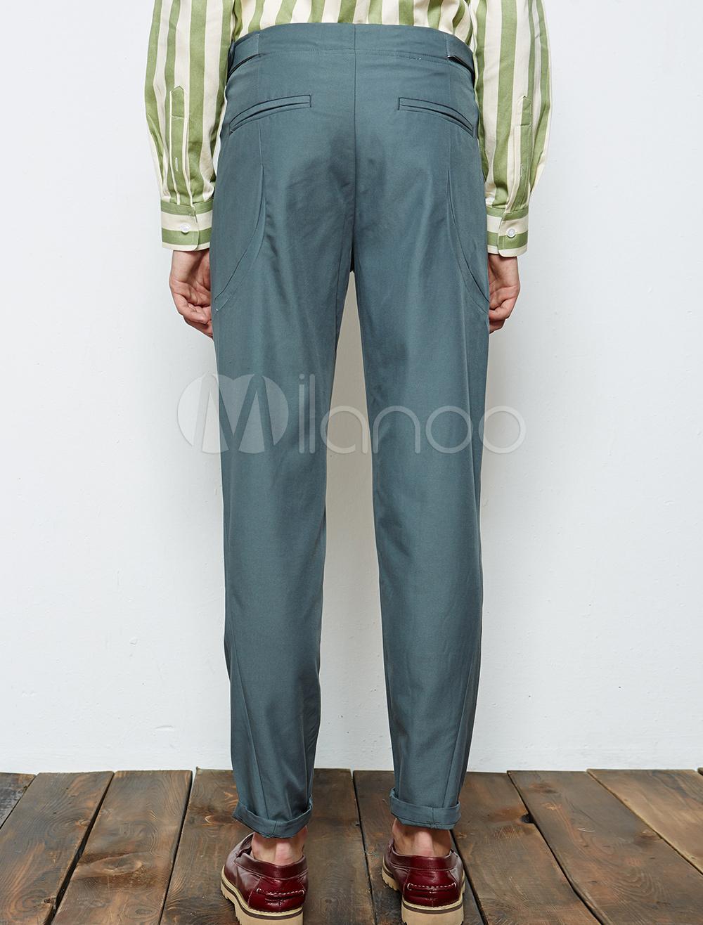 Comfortable deep gray solid color cotton cropped mens for Deep grey color