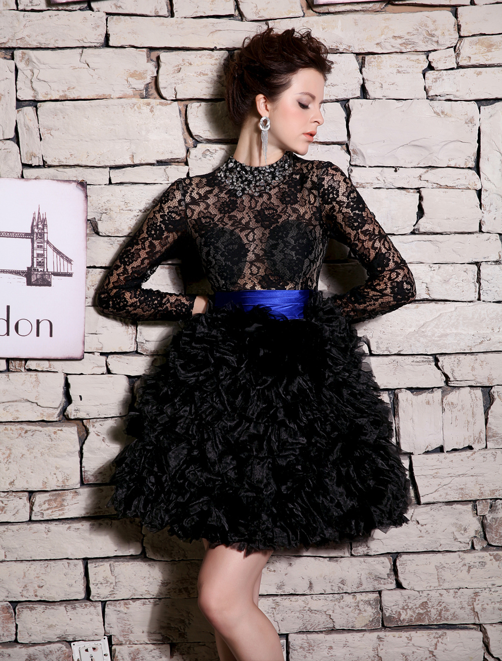Black Ball Gown Knee-Length Rhinestone Cocktail Dress with Jewel ...