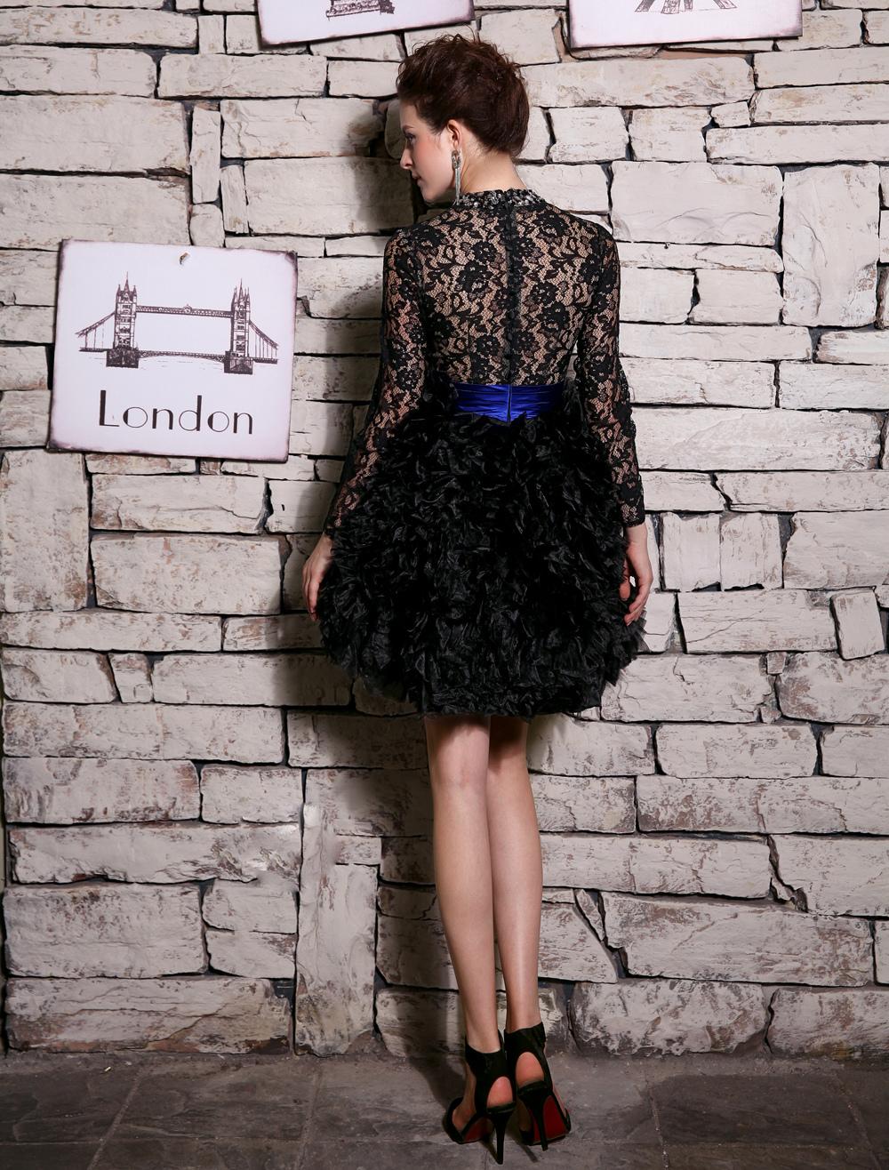 Black Ball Gown Knee-Length Rhinestone Cocktail Dress with Jewel ...