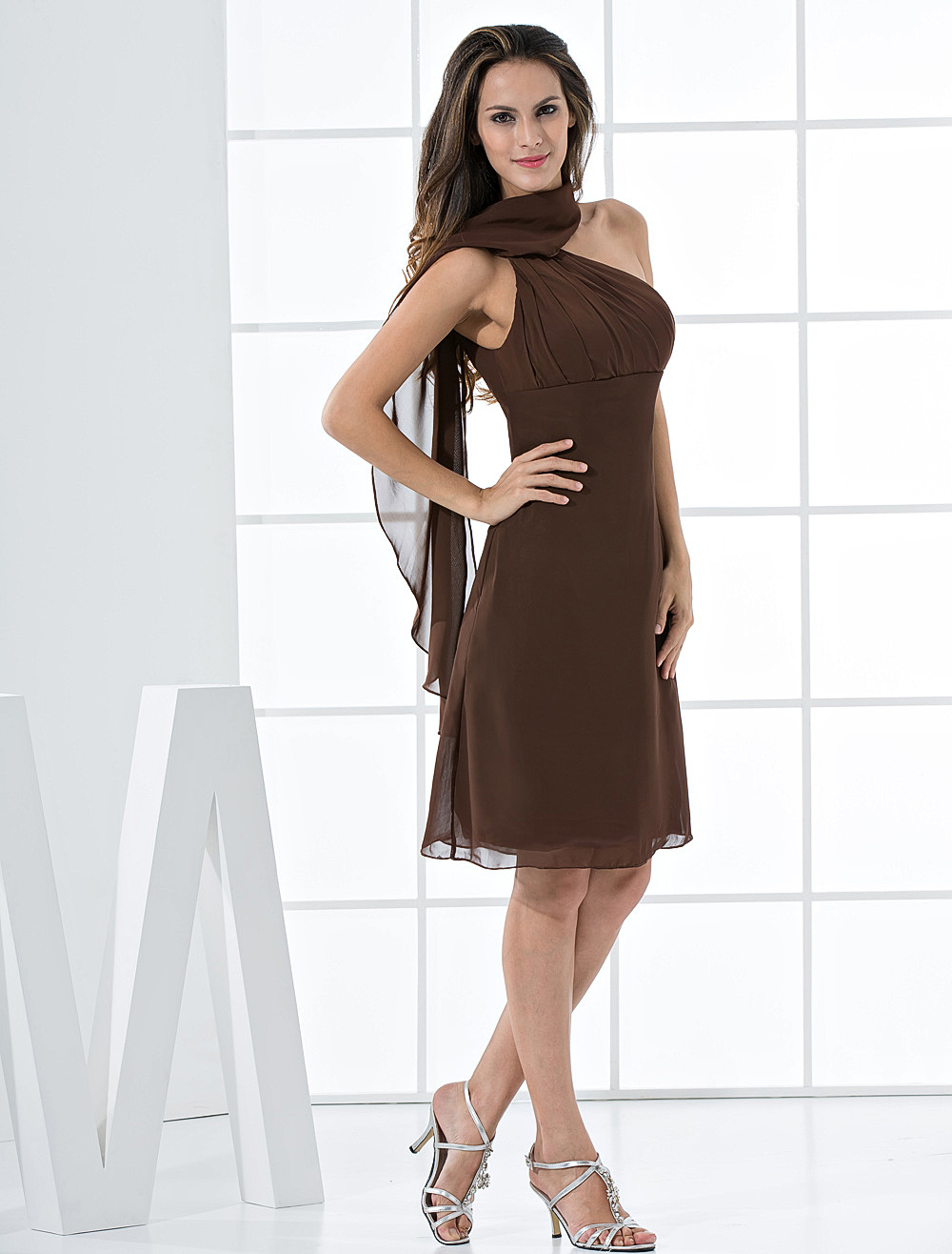 Cocktail Dress Chocolate One Shoulder Pleated A Line Chiffon Party Dresses
