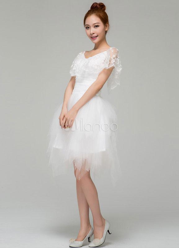 Elegant White A Line V Neck Lace Short Sleeves Tulle