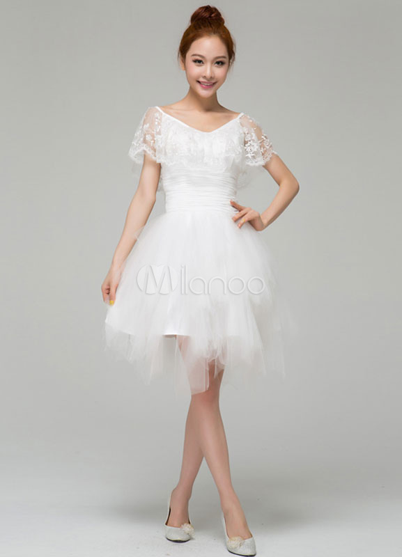 Elegant White A Line V Neck Lace Short Sleeves Tulle Tail Dress No