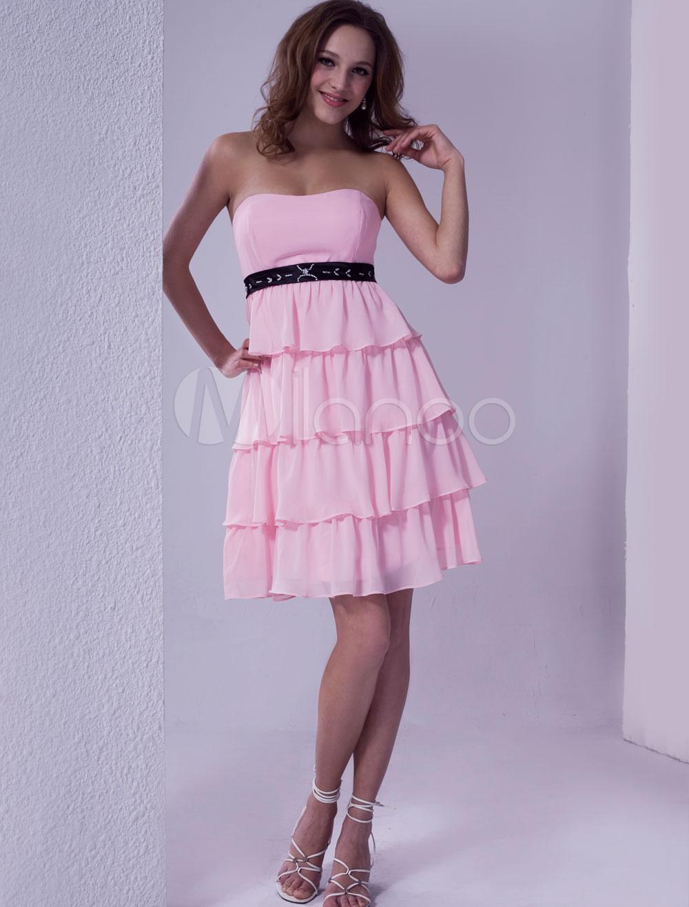 Chiffon A-Linie-Cocktailkleid mit Herz-Ausschnitt und Gürtel in Rosa ...