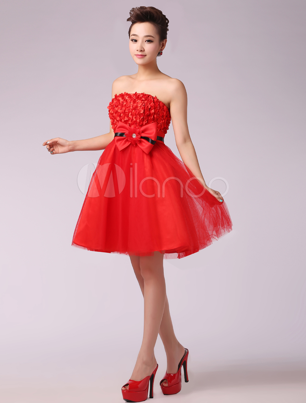precio justo 100% Calidad 100% genuino Vestido de fiesta de tul rojo sin tirantes con flor de estilo dulce