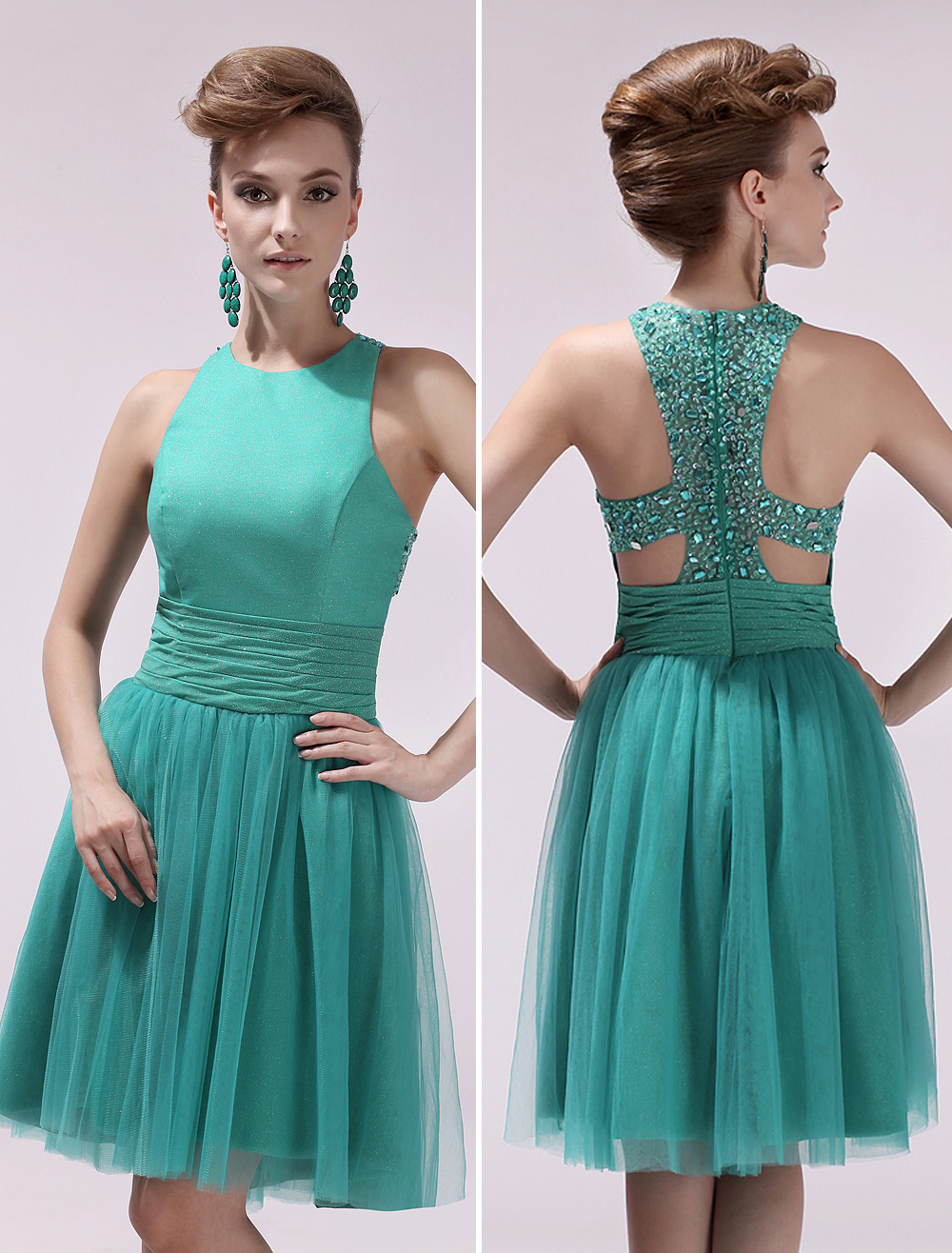 Tulle Prom Dress Blue Green Beaded Cocktail Dress Jewel Neck ...