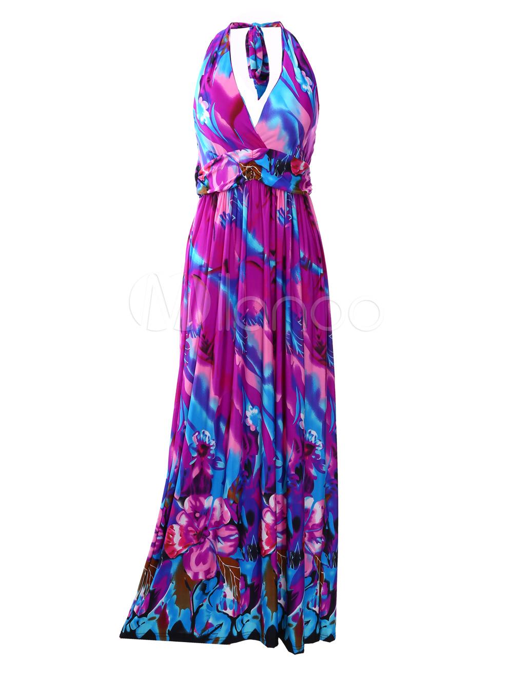 Vestido largo escote halter estampado de flores - Milanoo.com