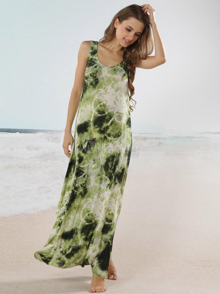 Sleeveless Tie Dye Maxi Dress Milanoo Com