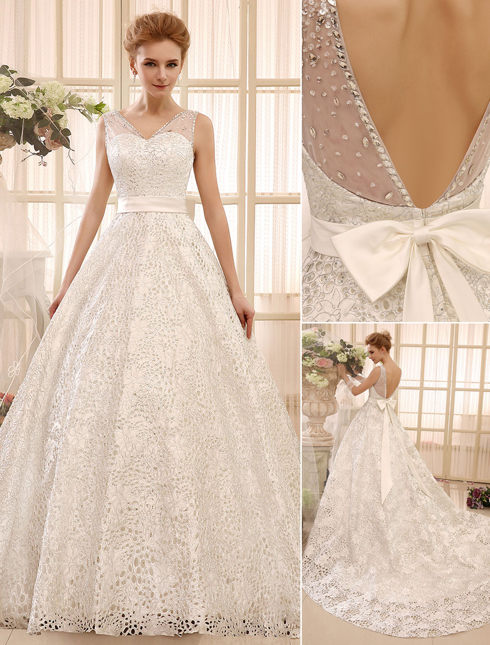Chapel Train Ivory A-line Bow Satin Bridal Wedding Gown with V-Neck  Milanoo