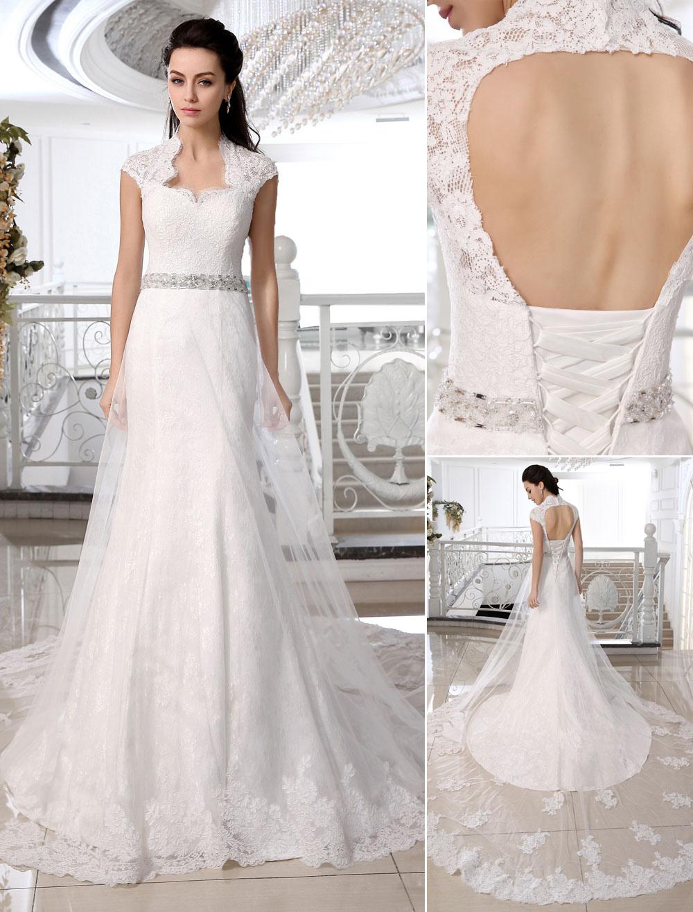 423d7a152 Vestido de novia de encaje blanco con diamante de imitación de cola larga -  Milanoo.com