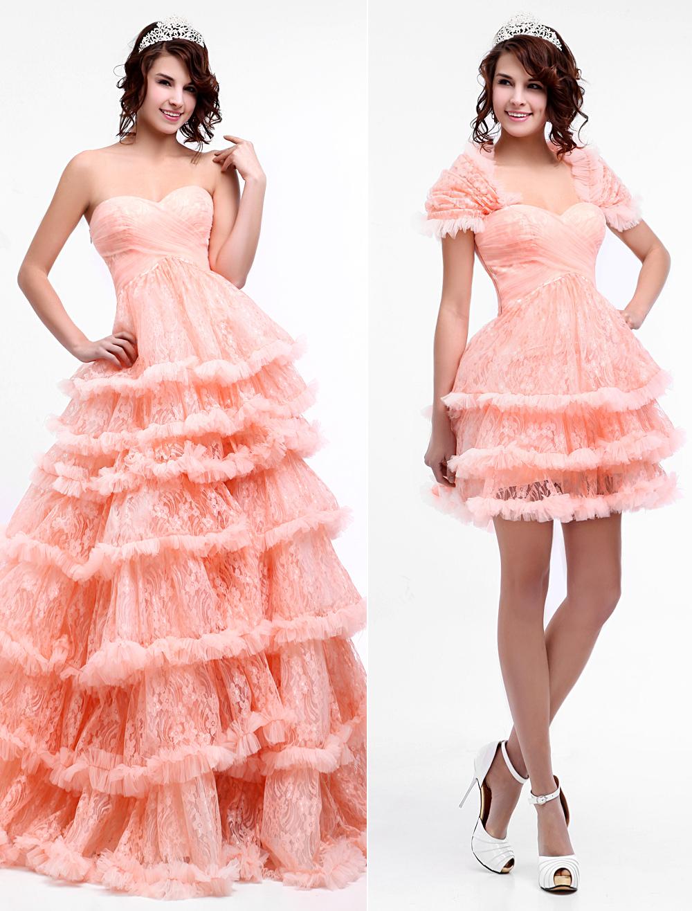 vestidos de gala de encaje Color Melocotón con escote en corazón sin ...