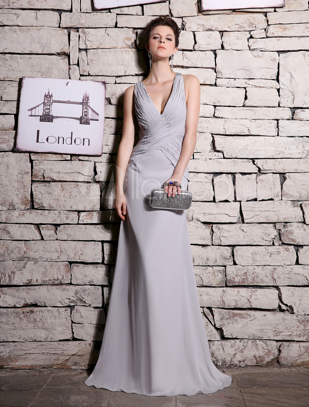 Chiffon Evening Dress  Gorgeous Silver V Neck Prom Dress Wrap Sheath Sleeveless Floor Length Party Dress Milanoo