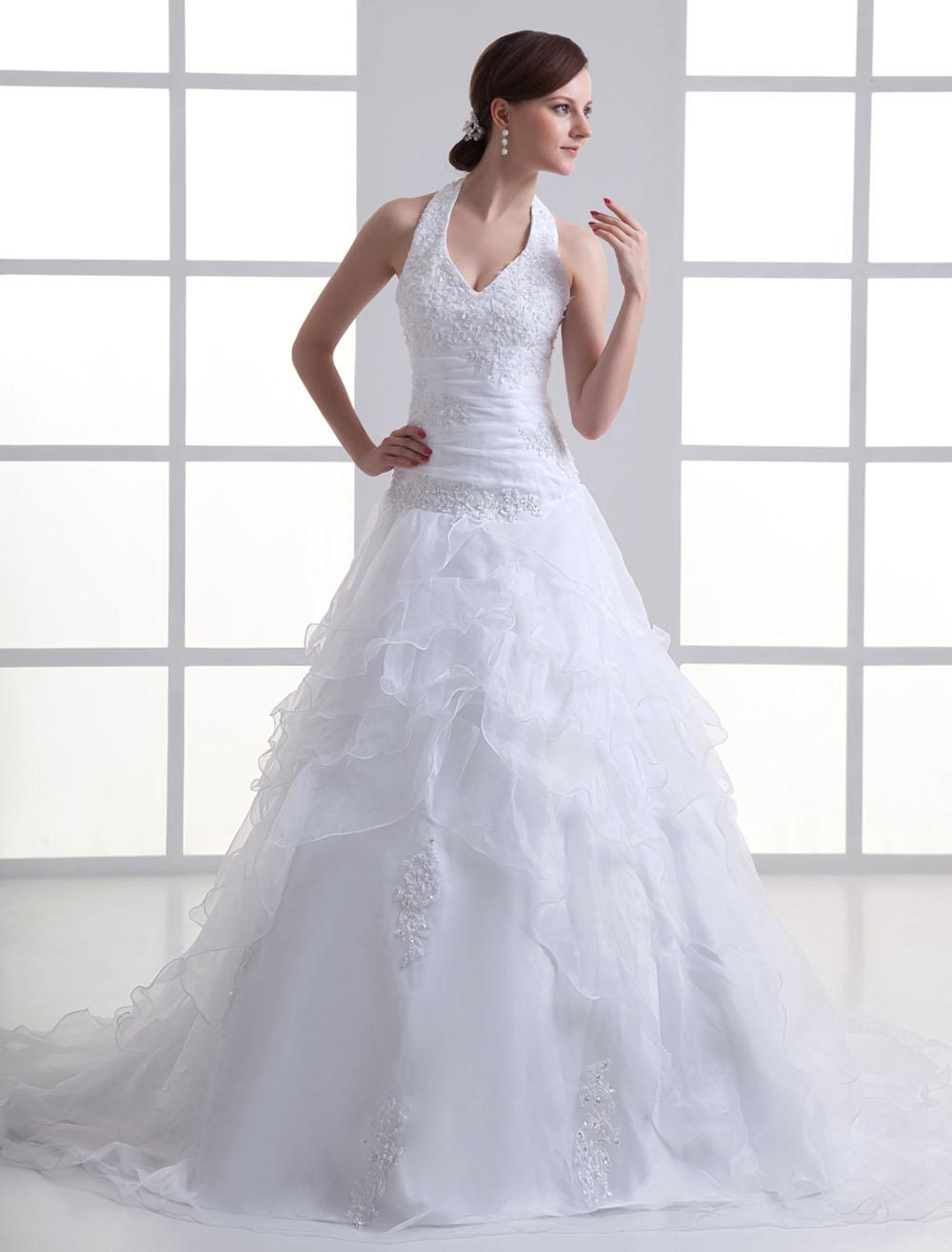 Brautkleid aus Organza mit Court-Schleppe in Weiß - Milanoo.com