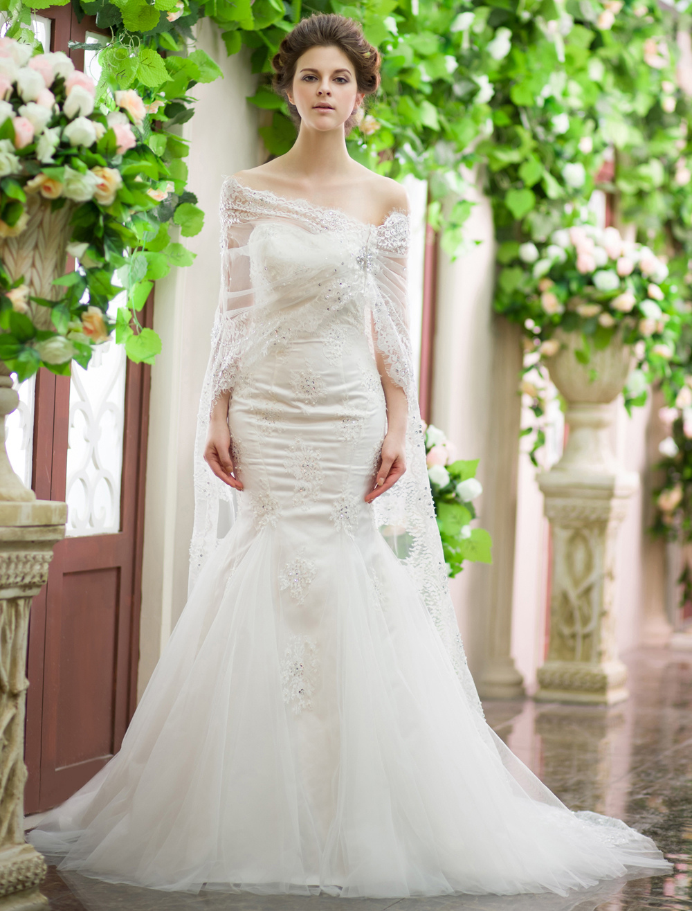 Buy Ivory Mermaid Sweetheart Sequin Wedding Dress With Court Train Milanoo for $255.58 in Milanoo store