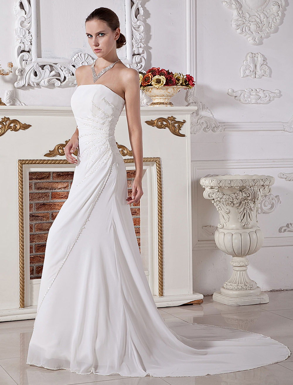 White Wedding Gown Strapless Ruched Sash Chiffon Wedding Dress
