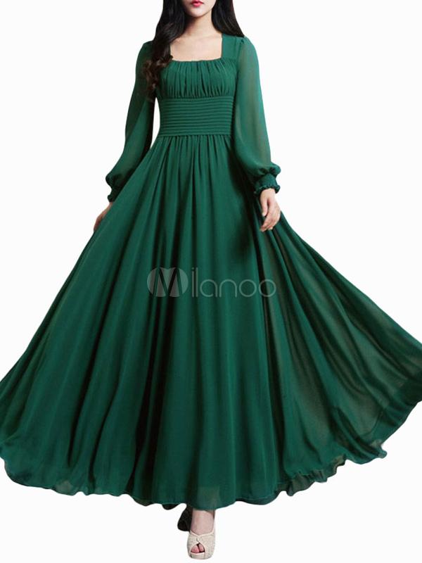 Beautiful Dark Green Square Neck Pleated Chiffon Maxi Dress for Woman