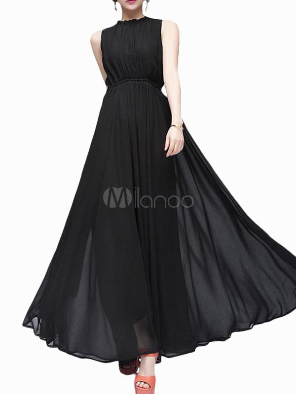 Vestido largo negro tela