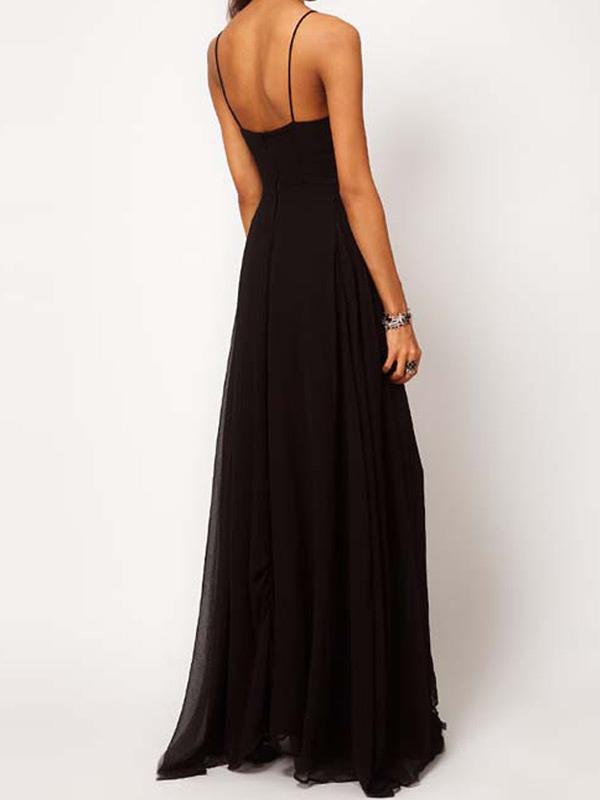 robe longue fendue en chiffon noir dos nu et bretelles. Black Bedroom Furniture Sets. Home Design Ideas