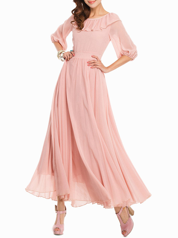 Princess Scoop Neck Solid Color Oversized Chiffon Maxi Dress for Woman