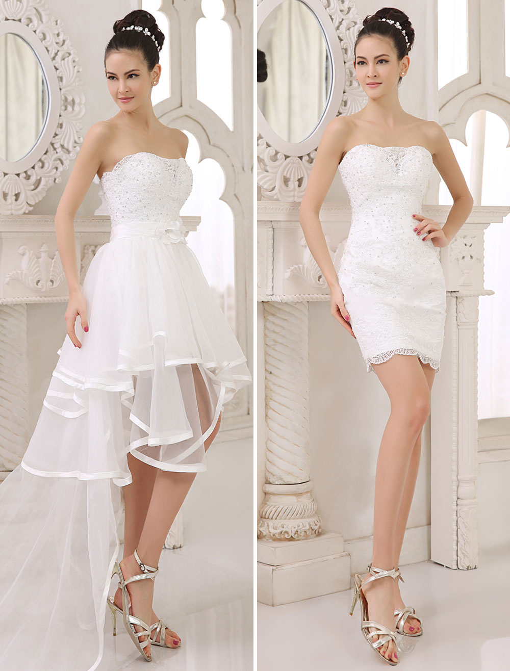 A Lien Strapless Two In One Wedding Dress With Panel Train Milanoo
