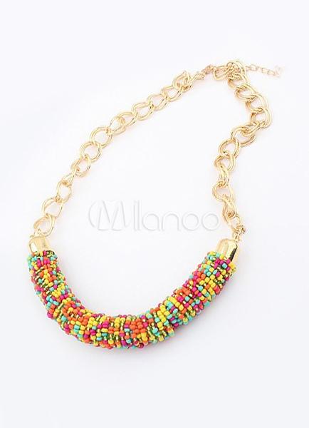 d5d916aa7b61 Collar de abalorios exóticos multicolor acrílico Femenil - Milanoo.com