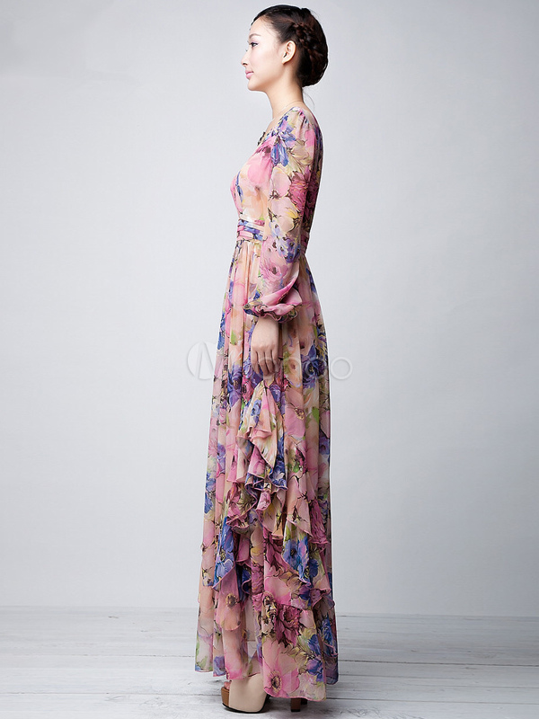 pink floral printed chiffon maxi dress