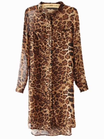 50eb8289f0 Sexy Brown Stand Collar Print Leopard Print Long Sleeves Chiffon Shirt Dress  -No.1 ...