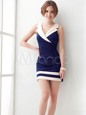 Hübsches Kleid aus Polyester mit V-Ausschnitt - Milanoo.com