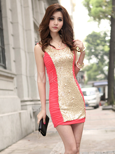 Hübsches Kleid aus Baumwolle mit Pailletten in Zweifarben - Milanoo.com