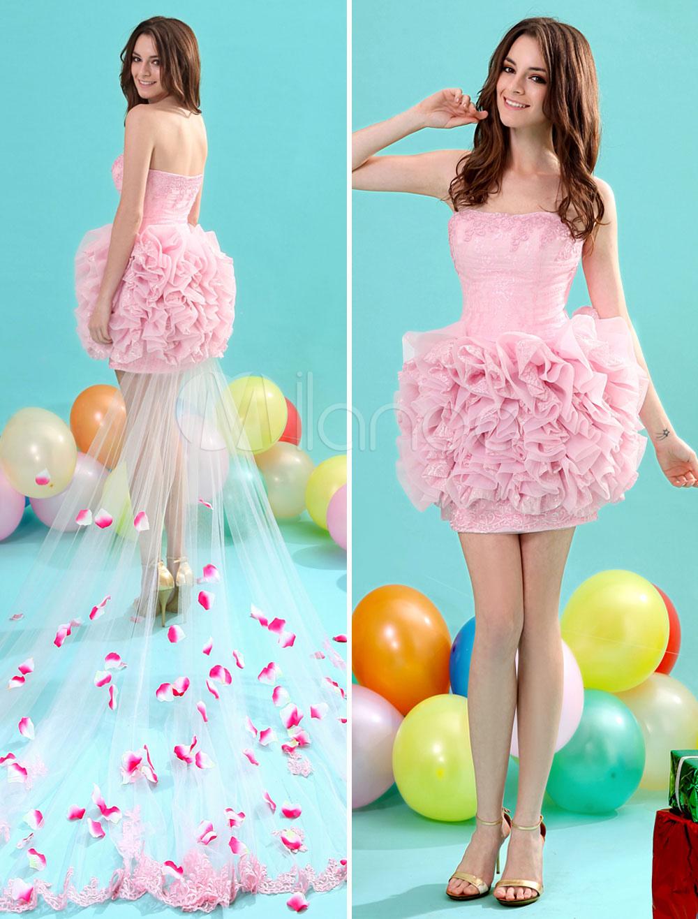 Sheath Strapless Lace Pink Panel Train Homecoming Dress