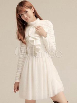 Blanco Vestido Color Larga Plisado Fruncido De Volante Con Manga F3lTKJ1c