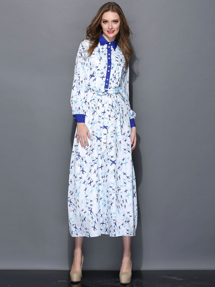 Attractive multi color turndown collar long sleeves silk for Long sleeve silk shirt dress