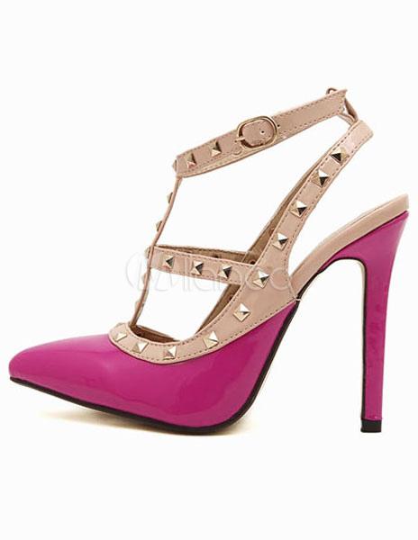 ... Attrayantes sandales à talons aiguilles et bout pointu en PU rose clouté -No.2