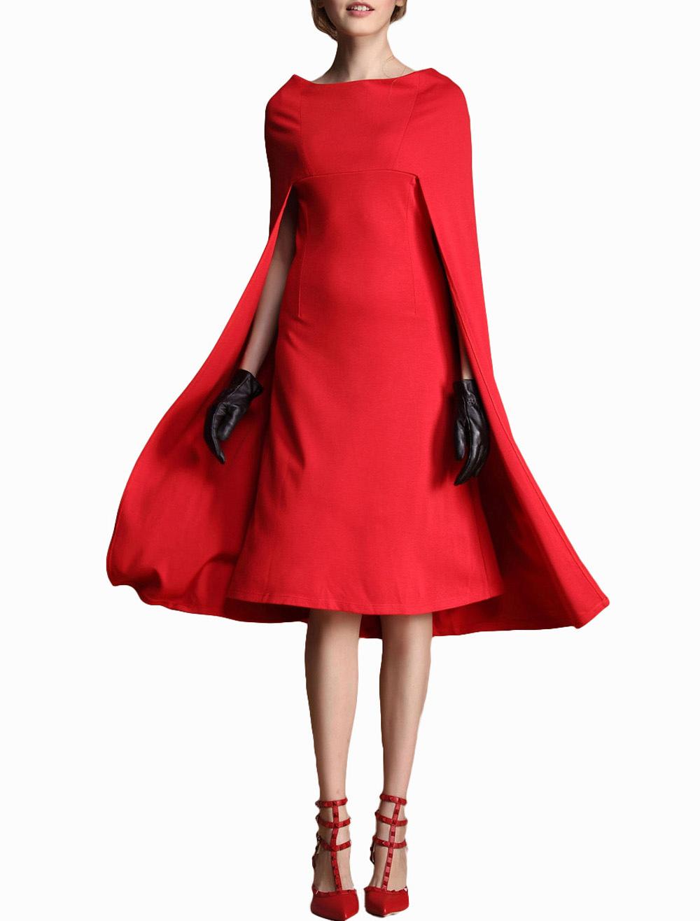 1a5e269466 Women Dress Red Cape Poncho Bodycon Midi Dress - Milanoo.com