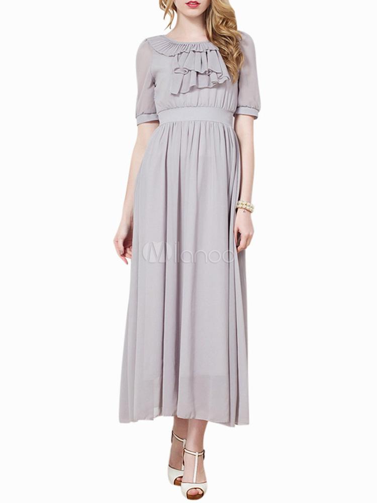 Sweet Crewneck Shaping Chiffon Womens Maxi Dress
