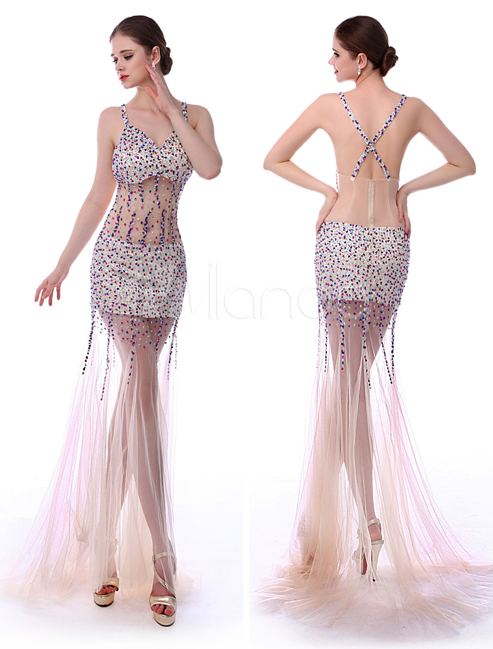 Mermaid Champagne V-Neck Beading Tulle Prom Dress