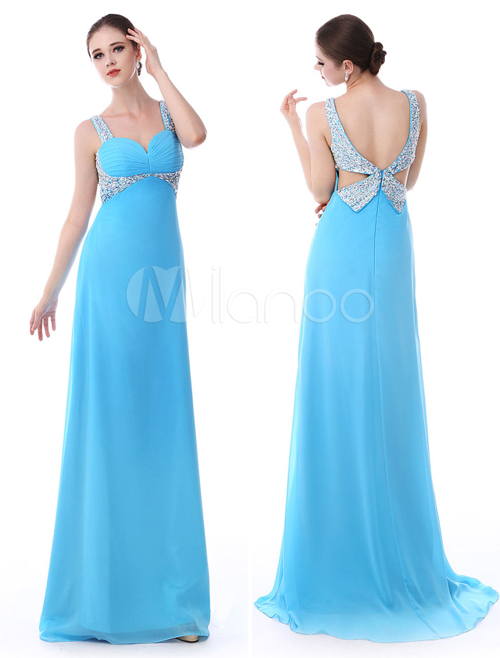 Sheath Blue Chiffon Sweetheart Neck Back Rhinestone Embellishment Prom Dress