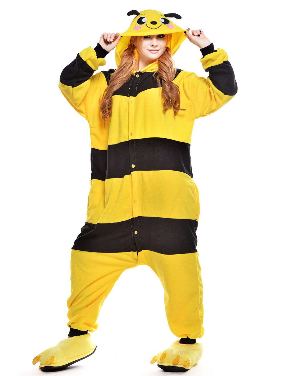 Kigurumi Pajama Bee Onesie For Adult fleece Flannel Yellow Black Stripe  Costume Halloween-No. 9ff3b0d65