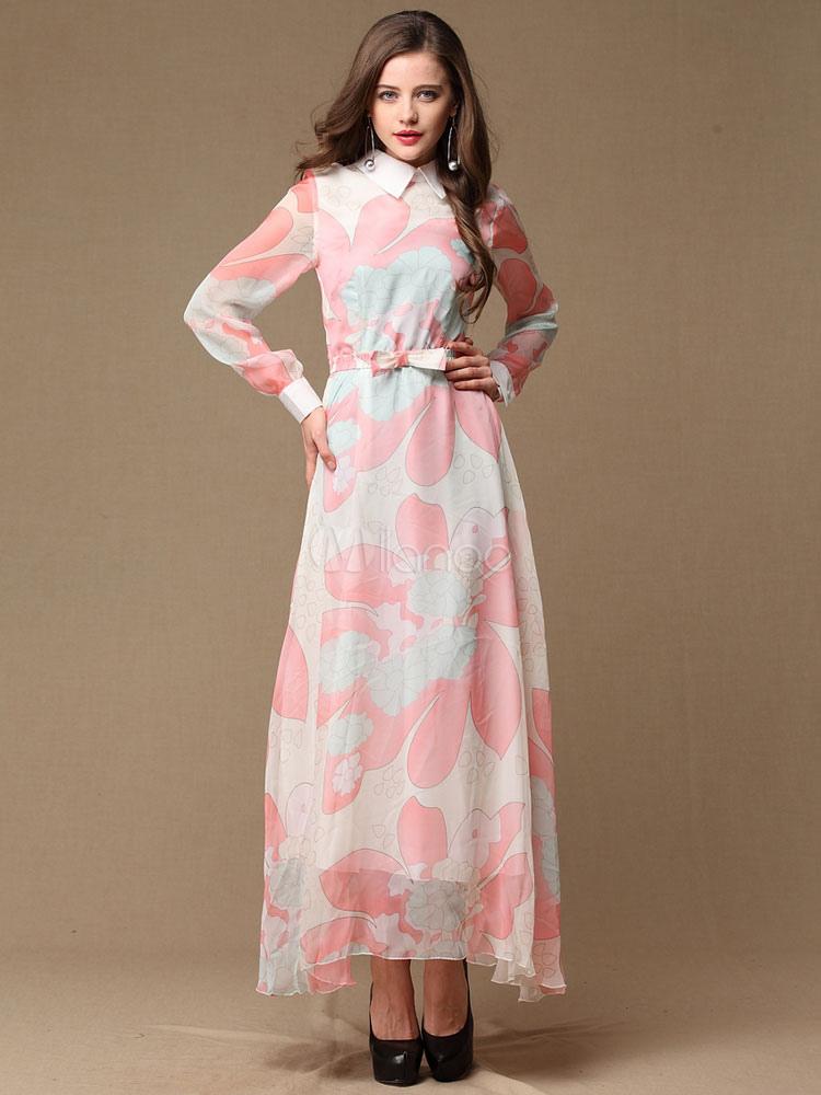 Hübsches Maxi-Kleid aus Seide mit langen Ärmeln - Milanoo.com