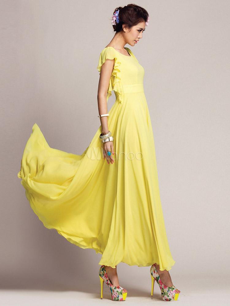 Langes kleid in gelb