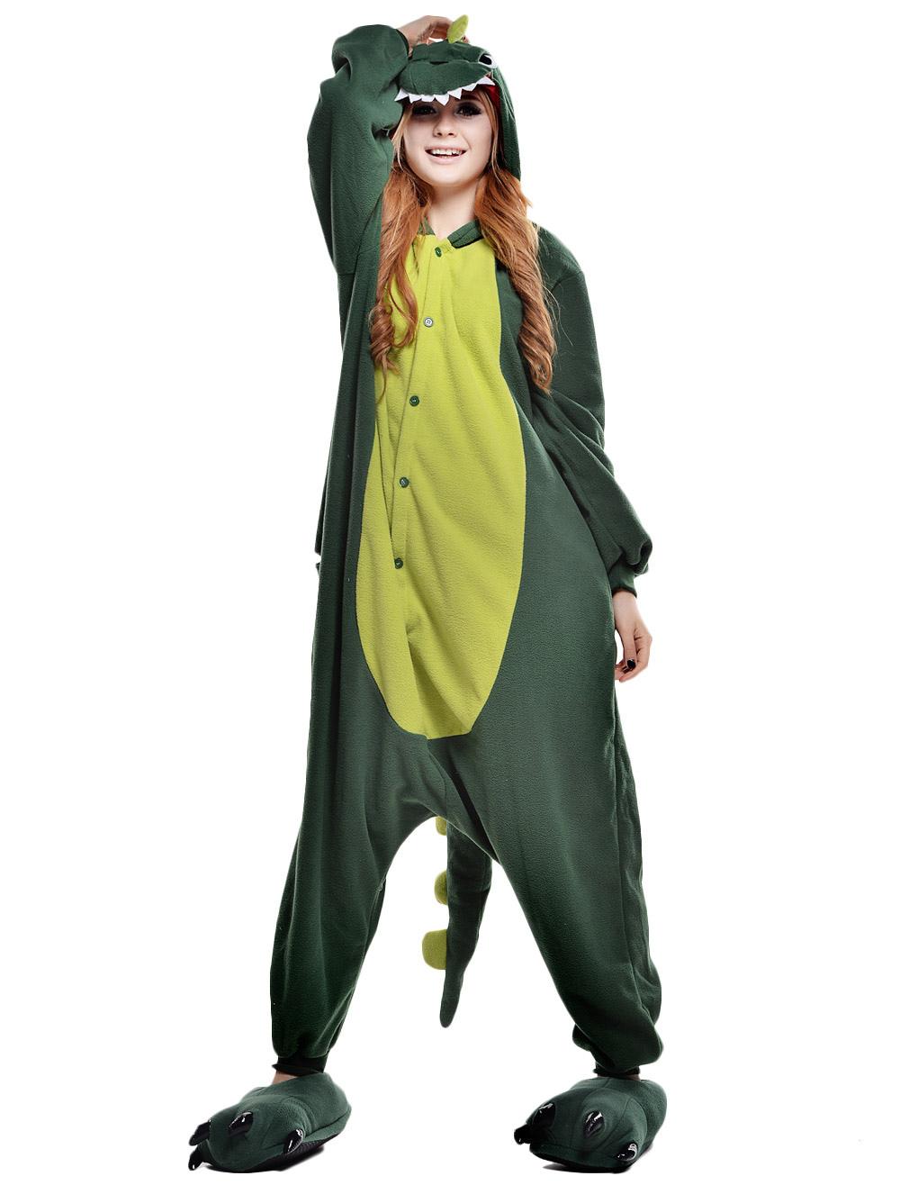 fe6bddf2ee ... Kigurumi Pajama Dinosaur Onesie For Adult fleece Flannel Green Animal  Costume Halloween-No.3 ...